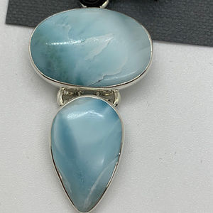 .950 Sterling Silver Larimar Double Pendant NEW